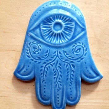 Hamsa, Blue Hamsa wall hanging, protection, Judaica,