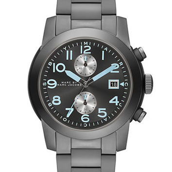 Marc By Marc Jacobs Mens Larry Gunmetal-Tone Stainless Steel Chronograph Watch
