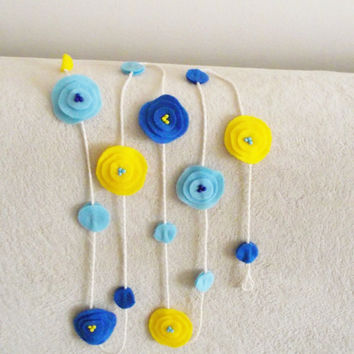 Felt Flowers Garland Sunshine Blue bunting Home decor nursery wall art