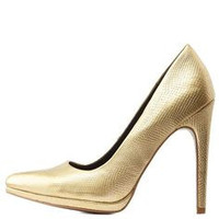 Charlotte Russe Gold Metallic Pointed Toe Stiletto Pumps*