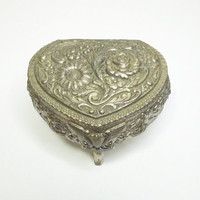 Ornate silver heart-shape trinket box jewelry box ring box with floral etching - Footed heart trinket box with hinged lid and red lining