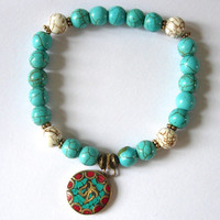 Beaded Bracelet Turquoise Howlite, White Howlite, and Inlaid Handmade Ohm Charm