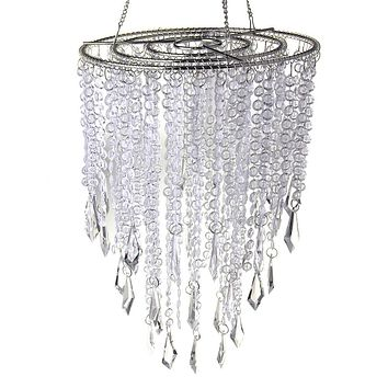 Hanging Beaded Chandelier with Icicle Crystals, Clear, 10-1/2-Inch