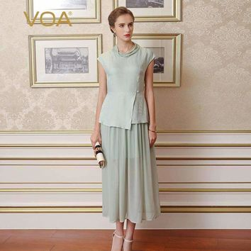 Voa Summer Chinese Style Plus Size Vintage Women Dress Graceful Lady Light Green Silk Jacquard Dress Vestidos A0339