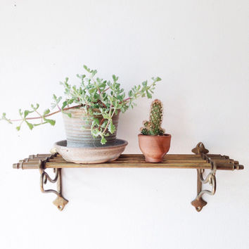 Vintage 1930s Solid Brass Train Rack - shelf, towel bar, wall hung