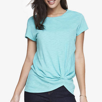 KNOT FRONT SLUB KNIT TEE from EXPRESS