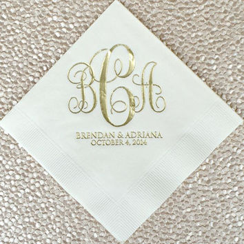 100 Script Wedding Monogram Napkins with Names and Date