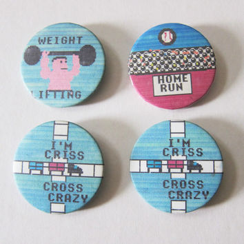 70s/80s 8-Bit Video Game Pixel Art Kitsch Pinback Button Badges