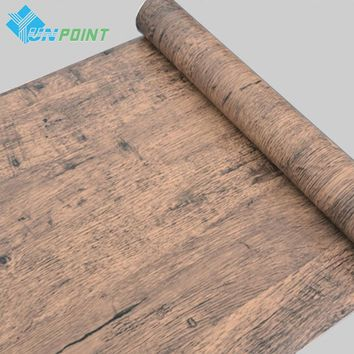 5 /10M Self adhesive Wood Grain Wallpaper Waterproof Old Furniture Vinyl Stickers Wooden Door Wardrobe Desktop PVC Wall papers