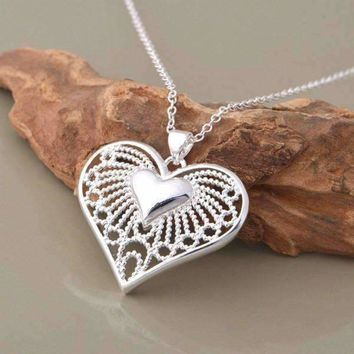 Bursting With Love Filigree Heart Necklace