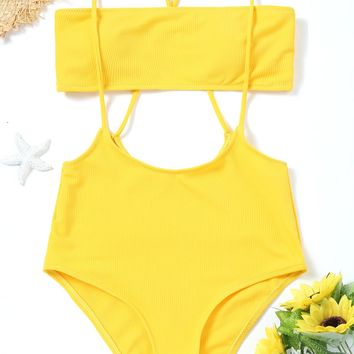 2018 One Piece Swimsuit Summer Swim Beach Wear Strapless Top and High Rise Cami Swim Bottoms Sexy Women Bodysuit Bathing Suit