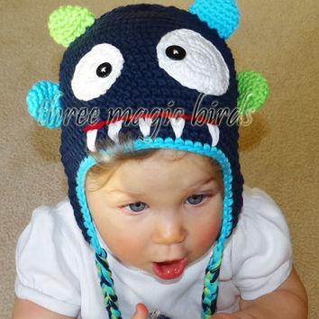 Crochet DARK BLUE Boy Monster Hat, Animal Baby Boy Monster Hat, Cotton Crochet Hat, Adorable Toddler Hat, Little Monster, Photo Prop