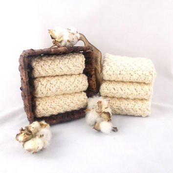 LARGE 10 x 10 ORGANIC COTTON crochet washcloths dishcloths Vegan spa facial scrubbies wash rags wash cloths dish cloths