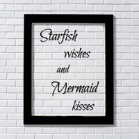 Starfish wishes and Mermaid kisses - Floating quote - Girl's Room - Kid's Room - Child's Room - Children Nursery Decor Wall Hanging Art