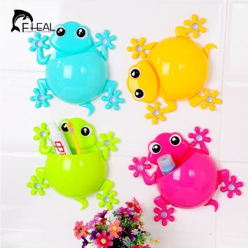 New Design Cartoon Sucker Gecko Toothbrush Wall Suction Bathroom Sets Toothbrush Holder Bathroom Accessories