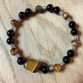 Men's Tiger's Eye Bracelet, Men's Gemstone Bracelet, Men's Jewelry, Men's stretch Bracelet, Men's Onyx Bracelet, Gift for him