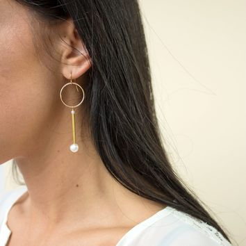 Line and Circle Earrings - Christine Elizabeth Jewelry