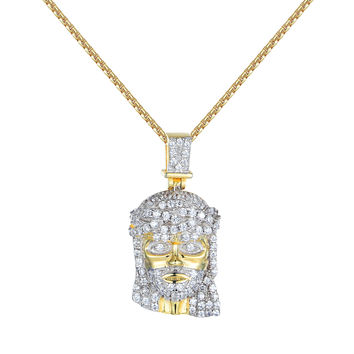 Sterling Silver Jesus Pendant Dainty Necklace Lab Diamonds 14k Gold Plate Solitaires
