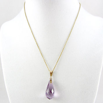 Antique Edwardian 14K Amethyst Pendant Necklace Lavender Gemstone Briolette February Birthstone Yellow Gold Fine Jewelry