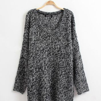 Grey Long Sleeve Loose Sweater one size = 9956666758