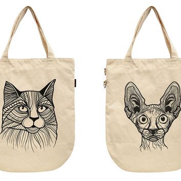 Women Cat Tattoos Printed Canvas Tote Shoulder Bags WAS_39