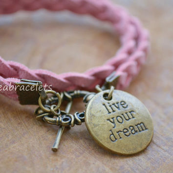 Gift Idea Double Wrap Bracelet Friendship Quote Motivation Inspired Charm Unisex Brass Live Your Dream Christmas Gift Pink