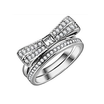 Bow And Bling - Women's Stainless Steel Clear CZ Bow and Eternity Band Ring Set