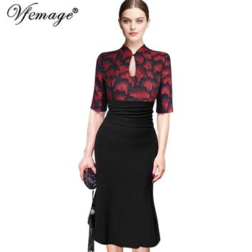 Vfemage Women Elegant Vintage Pinup Tunic Ruched Keyhole Prom Evening Party Work Formal Bodycon Mermaid Midi Dress 858