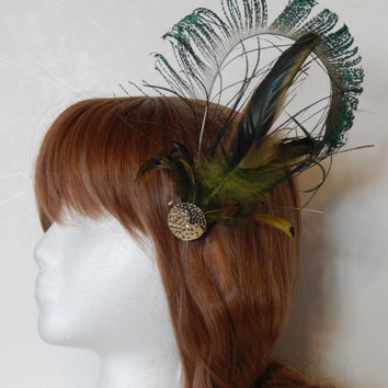 Peacock Herl Feather Fascinator, Hair Clip or Hat Pin