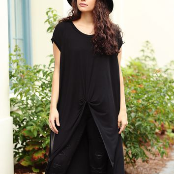 Black PIKO Knotted High-Low Top