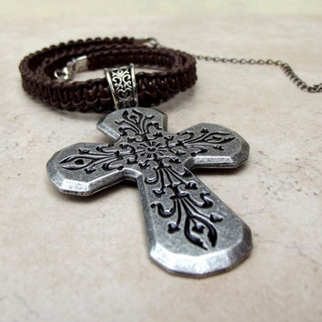 Men's Leather Necklace:  Father's Day Jewelry, Chocolate Brown Bohemian Rustic Cross Macrame Unisex Necklace