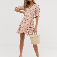 Wednesday's Girl wrap mini dress with tie sleeve in ditsy floral | ASOS