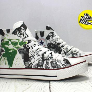 Master Yoda Star Wars inspired custom converse all star sneakers geek style handmade shoes