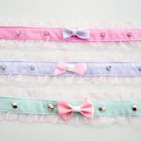 Pastel goth neckband with ribbon and rivets