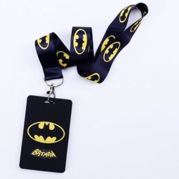 Batman Dark Knight gift Christmas Hot Sale!  1 pcs Cartoon Batman  Lanyard Key Chains Card Holders Bank Card Neck Strap Card Bus ID Holders PK-53 AT_71_6