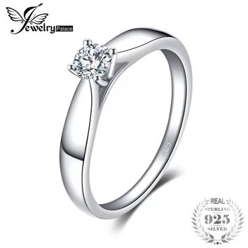 JewelryPalace 925 Sterling Silver 0.2ct Cubic Zirconia Solitaire Engagement Ring Simple Finger Ring Fashion Jewelry For Women