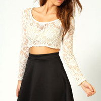 Lauren Scoop Neck Long Sleeve Crop Top