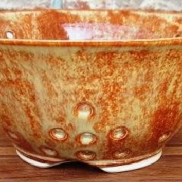 Salty Brown Ceramic Berry Bowl/Colander by Extrudergirl on Etsy