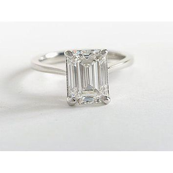 A Perfect 5CT Emerald Cut Russian Lab Diamond Solitaire Engagement Ring
