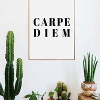 Carpe Diem,Live The Moment ,Quote Typography, Inspirational Poster,Motivational Wall Art, Art Digital , Letterpress Style, Gallery Wall,