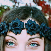 Black Rose Flower Halo Flower Crown Headband by XOBABYGURL on Etsy