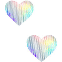 Silver Holographic Mini Heart Body Pasties