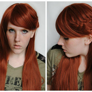 SALE Long Red Wig, Auburn wig, scene wig, straight red wig, cosplay wig, ginger hair, medieval wig, renaissance wig // Elven Princ