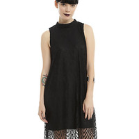 Black Mock Neck Scalloped Lace Hem Dress