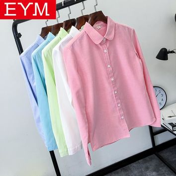 EYM Brand Blouse Shirt Women 2017 New Long Sleeve Ladies Tops Solid White Casual Oxford Plus Size Shirts Women's Clothing