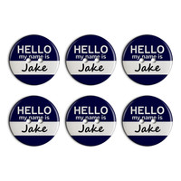 Jake Hello My Name Is Plastic Resin Button Set of 6