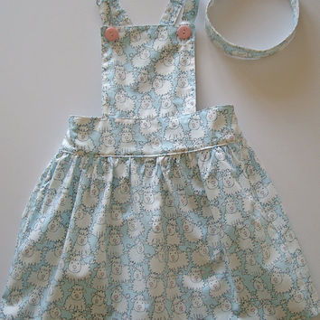 Girls dress, Sheep, Blue, White, Girls clothing, apron, pinafore, tunic, 100% cotton, girl, baby, toddler, size 6m to 10Y