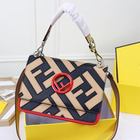 FENDI Kan I logo leather shoulder bag