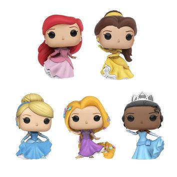 Princess Beauty and The Beast Belle Ariel Rapunzel Cinderella Tiana Action Figures Elsa PVC Model Collection Gift