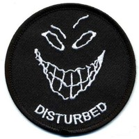 "Embroidered Iron On Patch - Disturbed Smiley Face 3"" Biker Patch"